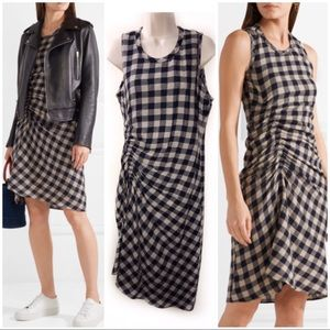 James Perse 2 Blue Checkered Dress Wool Ruched NWT